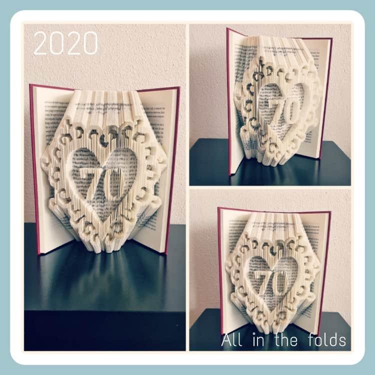 70 in heart frame pattern